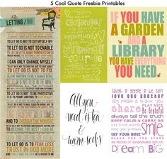 5 Cool Quote Freebie Printables for Project Life/ Project365