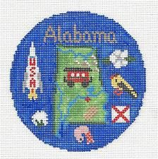 *2016* Silver Needle  ALABAMA  State handpainted Needlepoint Canvas Ornament