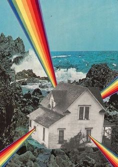 Rainbow House Art Print by Collage al Infinito by Trasvorder Art Du Collage, Surreal Collage, Surreal Art, Digital Collage, Digital Art, Collage Frames, Mixed Media Collage, Psychedelic Art, Photomontage