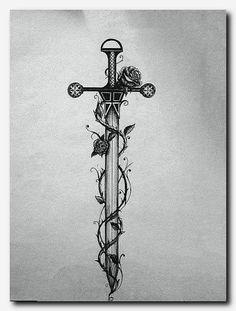 Znalezione obrazy dla zapytania tattoo espada com rosas