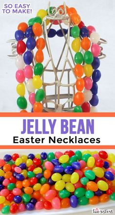 These Jelly Bean Easter Necklaces are fun and so very easy to make - you just need Jelly Beans, thread and a needle and you'll find all the directions here. Easter 2020, Easter Candy, Craft Projects, Craft Ideas, Easter Celebration, Easter Crafts, Easter Ideas, Jelly Beans, Easter Baskets