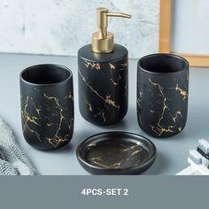 4 Piece Solid Shine Bath Accessories Set Black With Chrome Accents