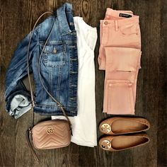 Possibly my favorite combination ever! Denim and blush pink Get all outfit details by clicking the link in my profile OR with @liketoknow.it [ http://liketk.it/2qCRX ] #liketkit #flatlay