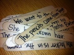 20 sentences on Popsicle sticks (one for each student) that contained different types of verbs. I had each student read their sentence aloud to the class, and we all searched for the verbs to chart! Teaching Language Arts, Classroom Language, Teaching Writing, Teaching Tips, Teaching Grammar, Grammar Lessons, Language Lessons, Kids Writing, Essay Writing