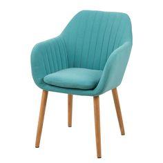 Chaise à accoudoirs Tilanda - Tissu / Chêne massif - Turquoise / Chêne…
