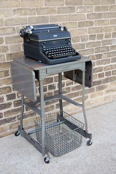 Vintage Grey Industrial Luxco Typewriter Table Stand by sugarSCOUT, $75.00