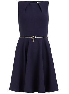 Dorothy perkins navy flared belted dress $89