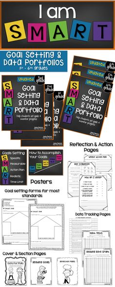 Student Goal Setting and Data Portfolios for 1st - 6th grades. Includes posters, data tracking pages, goal setting forms, section covers, reflection pages, and home/school connection. Also available in bundles for individuals and school sites.