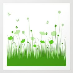 Green poppies  Art Print by Silvianna - $13.52