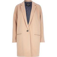 Camel oversized coat - coats - coats / jackets - women River Island $160