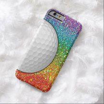 Faux Rainbow Glitter Golf Ball Texture Pattern iPhone 6 Case