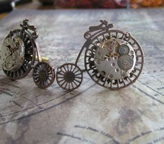 Steampunk bicycle cufflinks.