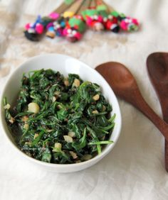 Great-Secret-Of-Life: Spinach Garlic with Sesame Seeds