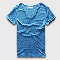 Men Basic T-Shirt Solid Cotton V Neck Slim Fit
