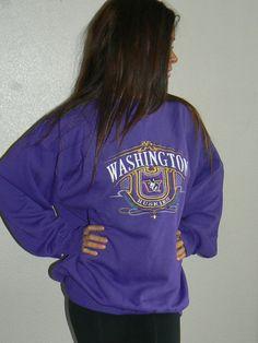 Vintage University of Washington Deep Purple Sweatshirt UW Huskies size XL on Etsy, $48.00