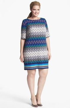 Eliza J Print Shift Dress (Plus Size) (Online Only) available at #Nordstrom
