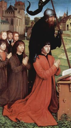 Hans Memling. Triptych of Willem Moreel, father as donor with his 5 sons - 1484, 121 × 69 cm. Brügge, Groeningemuseum.