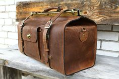 Genuine leather doctor bag  Doctor bag handmade from brown monochromatic waxed genuine leather. Outside the castle closes at four, and optionally can