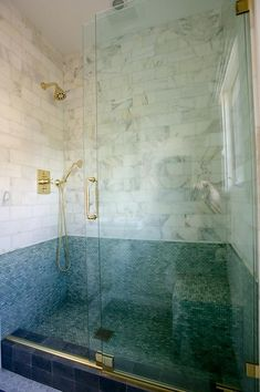 Seamless Glass Sliding Shower Door with Gold Handle