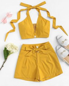 Solid Halter Top With Tie Waist ShortsFor Women-romwe - clothes Girls Fashion Clothes, Teen Fashion Outfits, Mode Outfits, Look Fashion, Girl Fashion, Girl Outfits, Womens Fashion, Teen Clothing, Fashion Styles