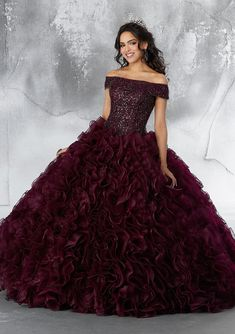 Vizcaya 89182 is an off the shoulder Quinceanera dress that has a crystal beaded bodice with a neckline cuff, a ruffled organza ball gown skirt, and a matching stole. Sweet 16 Dresses, 15 Dresses, Fashion Dresses, Formal Dresses, Wedding Dresses, Formal Wear, Tulle Ball Gown, Ball Gowns, Charro Quinceanera Dresses