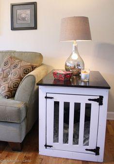 New Pet Crate Furniture Ana White Ideas Dog Kennel End Table, Dog Crate End Table, Diy Dog Crate, Crate Bench, Puppy Crate, Dog Kennel Cover, Diy Dog Kennel, Pet Kennels, Kennel Ideas