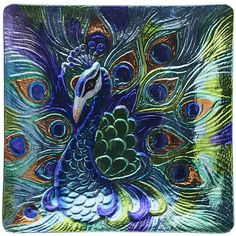 Proud Peacock Platter Art Glass Inch Square Kitchen Dining Serving Plate Peacock Decor, Peacock Colors, Peacock Art, Peacock Feathers, Peacock Design, Peacock Dining Room, Square Kitchen, Dining Decor, Kitchen Dining