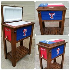 Made this custom Texas Rangers cooler for a customer yesterday! We can usually have something like this done in a 2 day period. Custom sports coolers like this one are priced at $250. Crocker Twin Creations, Lewisville, TX...Jason and Jared Crocker