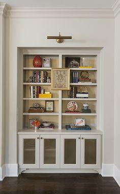 The Zhush: Obsession Du Jour: Hallie Henley Design Built In Shelves Living Room, Built In Bookcase, Bookshelves, Bookshelf Lighting, Bookshelf Styling, Bookshelf Decorating, Decorating Ideas, Above Cabinets, Residential Interior Design