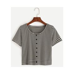 Black White Striped T-shirt With Buttons (22 AED) ❤ liked on Polyvore featuring tops, t-shirts, button, shirts, striped, tee-shirt, striped shirt, black white striped t shirt, button shirt and striped tee