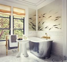 "5,353 Likes, 87 Comments - de Gournay (@degournay) on Instagram: ""Beyond beautiful bathroom by @bamoinc featuring our 'Fishes' hand painted wallpaper with custom…"""