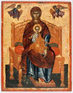 icon of theotokos enthroned Byzantine Icons, Byzantine Art, Religious Icons, Religious Art, Russian Icons, Best Icons, Orthodox Icons, Sacred Art, Renaissance Art
