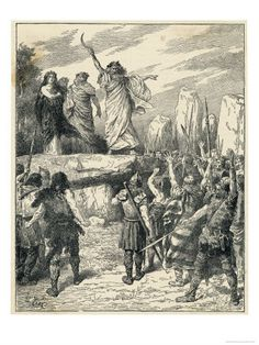 Ancient Druids inciting their subjects to prepare for the coming battle with the advancing Romans. This print can be found in Volume 1 of Cassells History of England.