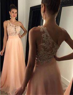 A-line One shoulder Lace Appliqued Prom Dress,Blush Pink