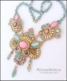 Soutache necklace in Gold, Mauve, turquoise soutache