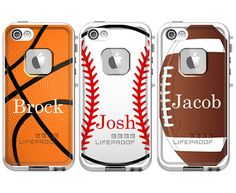 Sports Personalized LifeProof Fre iPhone 5s, iPhone 5 or iPhone 4/4s Monogram Phone Case - Baseball Basketball Football Boys Designs on Etsy, $99.00