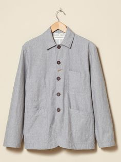 Universal Works Bakers Jacket In Grey Marl Twill