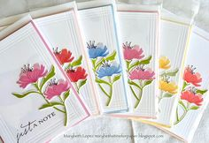 Set of Notecards The Greetery Print shop fresh floral and Pti Diy Note Cards, Thanks Card, Get Well Cards, Scrapbook Cards, Scrapbooking, Handmade Birthday Cards, Stampin Up Cards, Cricut Cards, Paper Cards
