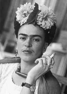 Frida Kahlo (1907 - 1954) was a prominent Mexican painter who is better known for her self-portraits. She was married to Diego Rivera.