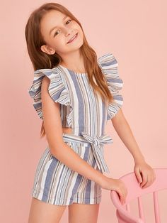 Girls Ruffle Trim Tie Waist Striped Romper - Girls Ruffle Trim Tie Waist Striped Romper – Kidenhouse Source by - Dresses Kids Girl, Kids Outfits Girls, Cute Girl Outfits, Cute Outfits For Kids, Cute Casual Outfits, Clothes For Kids Girls, Summer Dresses For Girls, Tween Girls Clothing, Girls Fashion Clothes