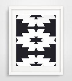Southwestern Print, Black and White, Navajo Print, Aztec Print, Nordic Ikat, Printable Wall Art, Tribal Pattern Print