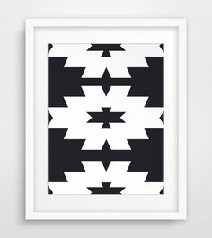 Southwestern Print, Black and White, Navajo Print, Aztec Print, Nordic Ikat, Printable Wall Art, Tribal Pattern Print