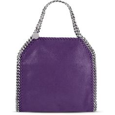 Stella McCartney Falabella Mini Tote Bag (€1.005) ❤ liked on Polyvore featuring bags, handbags, tote bags, purple, purple tote bags, tote bag purse, logo tote bags, stella mccartney purse and stella mccartney handbags