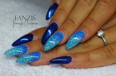 #blue #glitter #nails