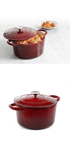 Crock Pot Artisan Round Cast Iron Dutch Oven with Non-Stick Surface, 5 Quart, Burgundy Wine Dutch Ovens, Cast Iron Dutch Oven, Burgundy Wine, Crock Pot, Pots, Artisan, Surface, Slow Cooker, Dutch Oven