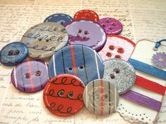 12 VERY BIG Round Chipboard Epoxy Button Embellishments by The LemonDrop Tree, via Flickr