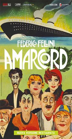 Amarcord Cinema Posters, Film Posters, Cult Movies, Series Movies, Great Films, Good Movies, Marcello Mastroianni, Vintage Movies, Holidays And Events