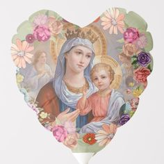 Hail Holy Queen, Custom Balloons, Balloon Flowers, Blessed Virgin Mary, Baby Jesus, Blessed Mother, Mother Mary, Vintage Art, Christianity