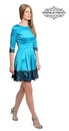 rochie-ocazie-tafta-elastica-turquoise-dantea-neagra-gabriels-fashion-concurs