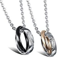 Heart Shaped Titanium Stainless Steel Matching Couples Necklace Pendant Set ,Best personalized gifts for him or her on Yoyoon.com